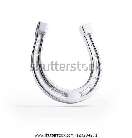 Silver horseshoe isolated on a white background - stock photo