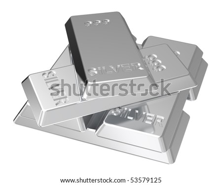 Silver ingots isolated on white. Computer generated 3D photo rendering. - stock photo