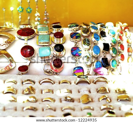 silver jewelry - stock photo