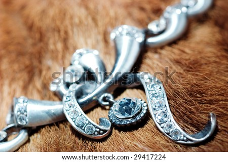Silver jewelry on a furry background