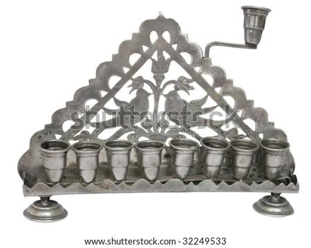 Silver jewish Menorah - stock photo