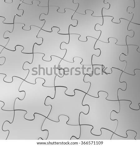 Silver Jigsaw Puzzle Background. 3D render