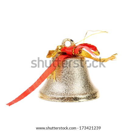 Silver jingle bell. Isolated on a white background. - stock photo