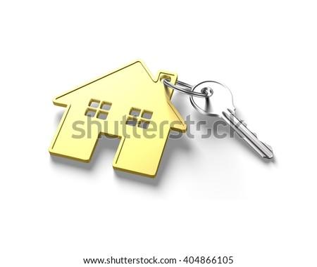 Silver key and gold house shape key ring, isolated on white background, 3D illustration. - stock photo