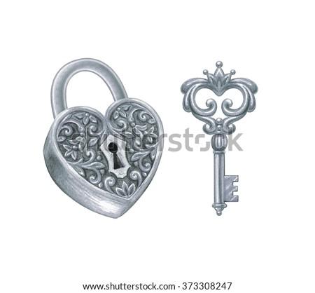 Heart Shaped Key Drawing