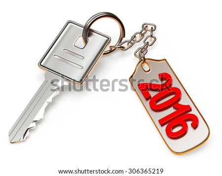 Silver key and metal  label with 2016 New Year isolated on white background - stock photo