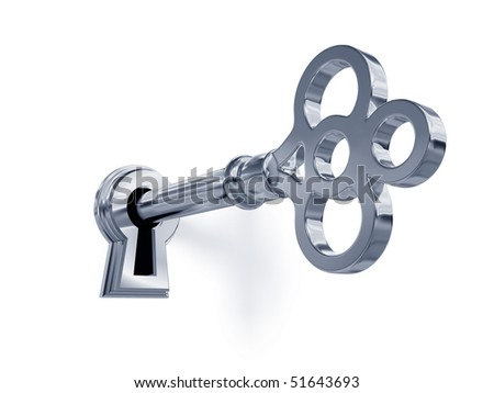 Silver key in keyhole - stock photo