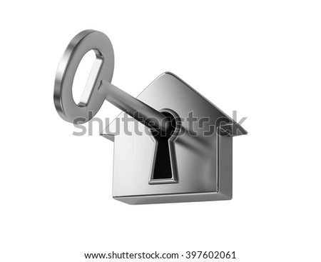 Silver key in keyhole, isolated on white. 3D rendering - stock photo