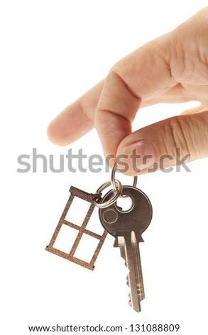 Silver key isolated on white background - stock photo