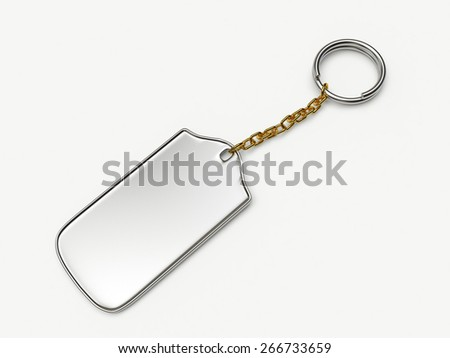 Silver key ring isolated on white background
