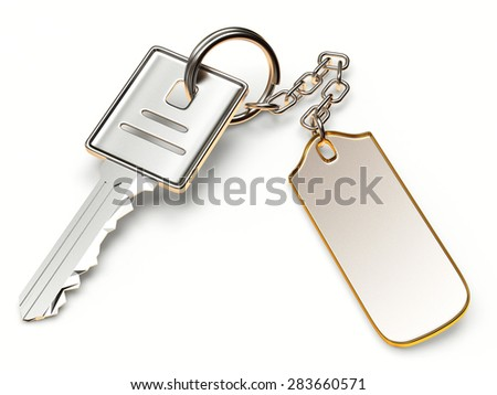 Silver key with metal blank label isolated on white background - stock photo