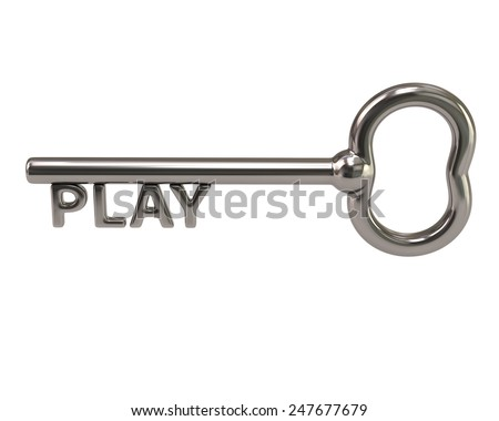 Silver key with word play