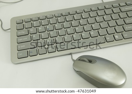 Silver Keyboard and Mouse