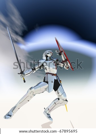 Silver Knight - stock photo