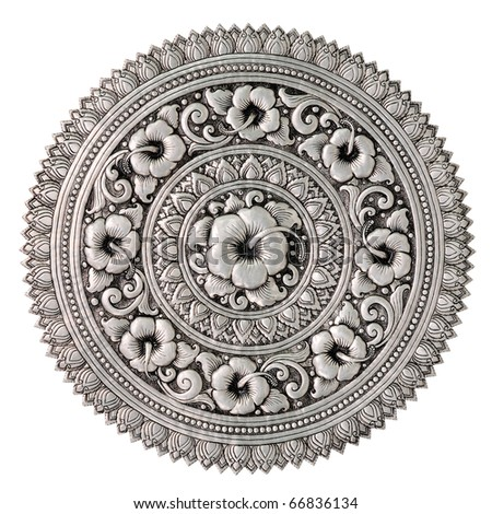 Silver lacquer Show flower art balance Global Crafts Thai artists. Place in Chiang Mai, Thailand. - stock photo