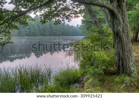 Silver Lake in Sullivan County  located in the U.S. state of New York - stock photo
