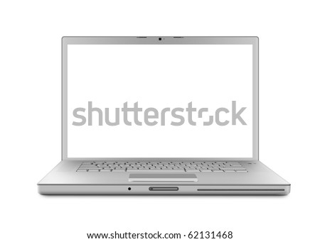 Silver Laptop computer with clipping path. Isolated with a white screen on white background. - stock photo