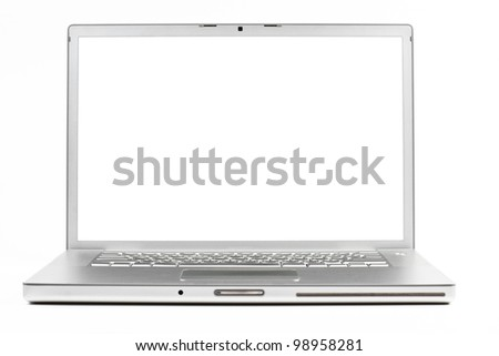silver laptop front wiev with black screen isolated on white background - stock photo