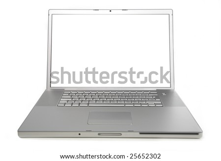 silver laptop isolated on white background  front view
