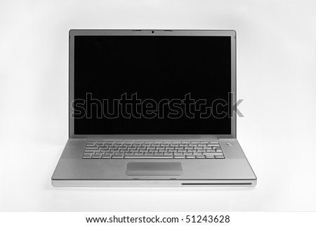 silver laptop isolated on white background with clipping path. front view - stock photo