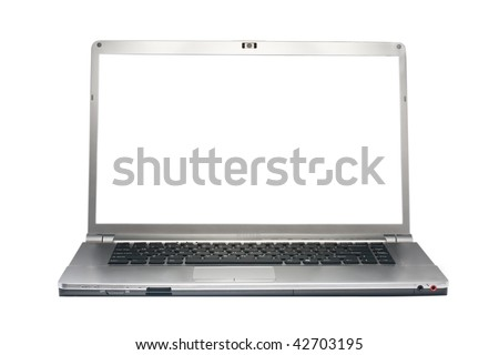 Silver laptop isolated on white with clipping path. White screen. Front view. - stock photo
