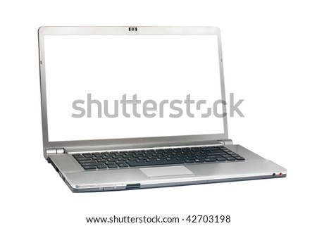 Silver laptop isolated on white with clipping path. White screen. Right view. - stock photo