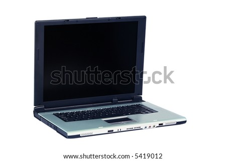 Silver laptop  on white background - stock photo