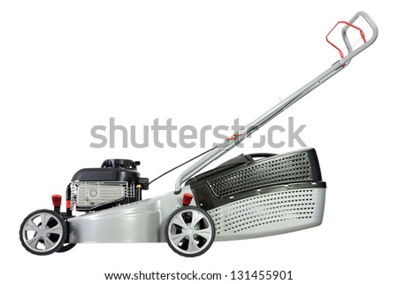 Silver lawn mower isolated on a white background. - stock photo
