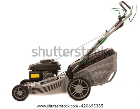 Silver Lawn Mower isolated over white background