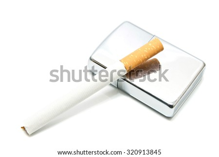 silver lighter and cigarette on white background - stock photo