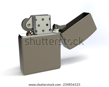 silver lighter, vintage zippo style isolated on a white background. 3D - stock photo