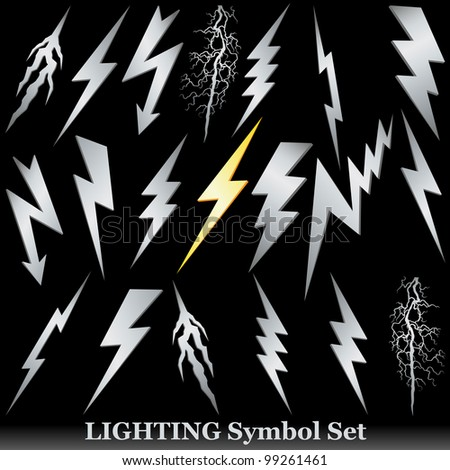 Silver lightning set on black. - stock photo