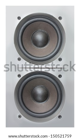 Silver loudspeakers isolated on white
