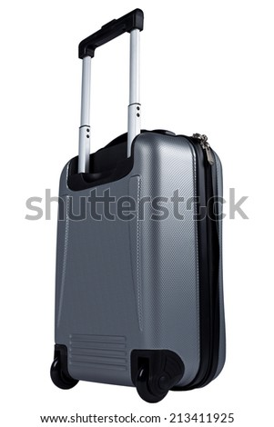 Silver luggage, suitcase isolated on white