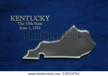 Silver Map of Kentucky - stock photo