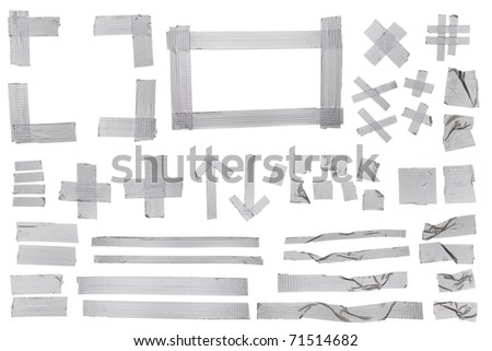 Silver masking tape samples for designers. - stock photo