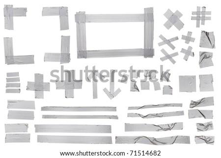 Silver masking tape samples for designers. - stock photo
