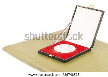 Silver medal and diploma isolated - stock photo