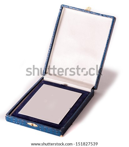 Silver medal in old blue box on white background.