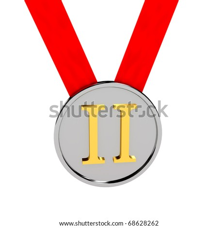 Silver medal over white background. Computer generated image
