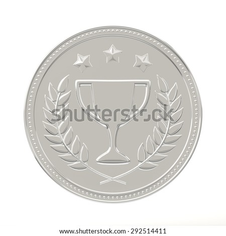 Silver medal with laurels, stars and cup. Round blank coin with ornaments. Victory, best product, service or employee concept. Achievement in sports. Isolated on white background.