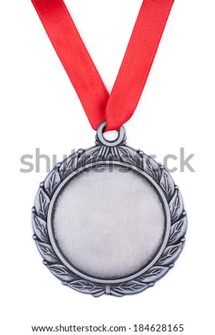 Silver medal with red ribbon a white background - stock photo