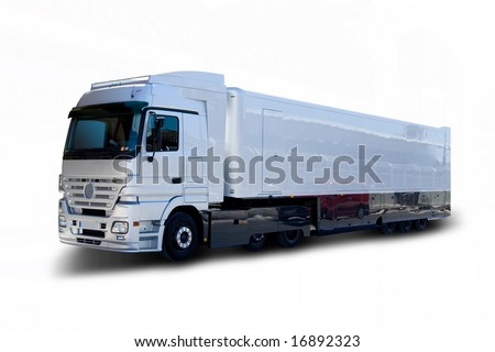 Silver Mercedes Benz Semi Truck - stock photo