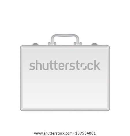 Silver metal briefcase illustration. Isolated on white background.
