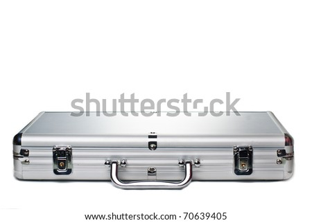 Silver metal briefcase isolated against a white background