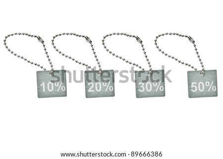 Silver metal discount tag - stock photo