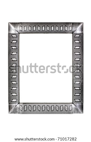 Silver metal frame isolated on white background - stock photo