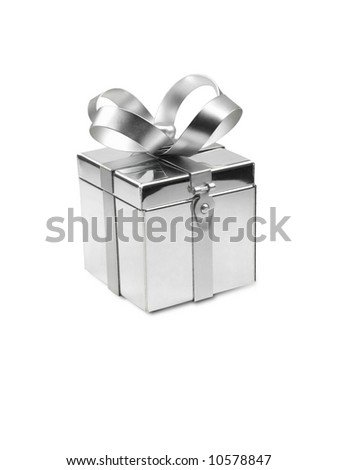 Silver metal gift box with bow with front latch. - stock photo