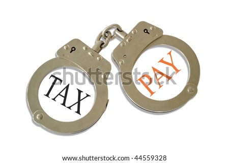 Silver metal handcuffs tax pay concept - stock photo