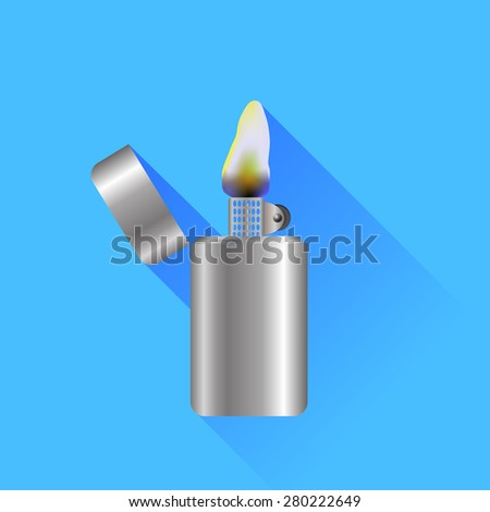 Silver Metal Lighter Isolated on Blue Background - stock photo
